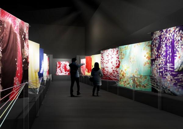 着物が織り成す桜並木(イメージ)