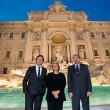 Pietro Beccari, Silvia Venturini Fendi and Claudio Parisi Presicce at the Trevi Fountain