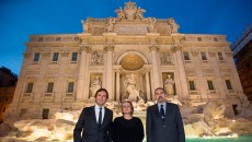 Pietro Beccari, Silvia Venturini Fendi and Claudio Parisi Presicce at the Trevi Fountain