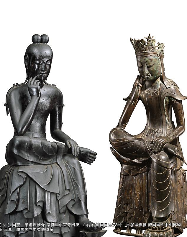 (左) 国宝 半跏思惟像 奈良・中宮寺門跡 (右) 韓国国宝78号 半跏思惟像 韓国国立中央博物館 写真 韓国国立中央博物館